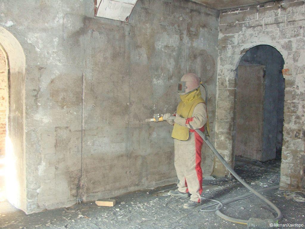 Очистка бетонных поверхностей после пожара. Горнолыжный клуб Леонида Тягачева.