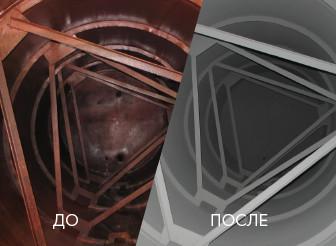 Резервуар для питьевой воды до и после выполнения работ