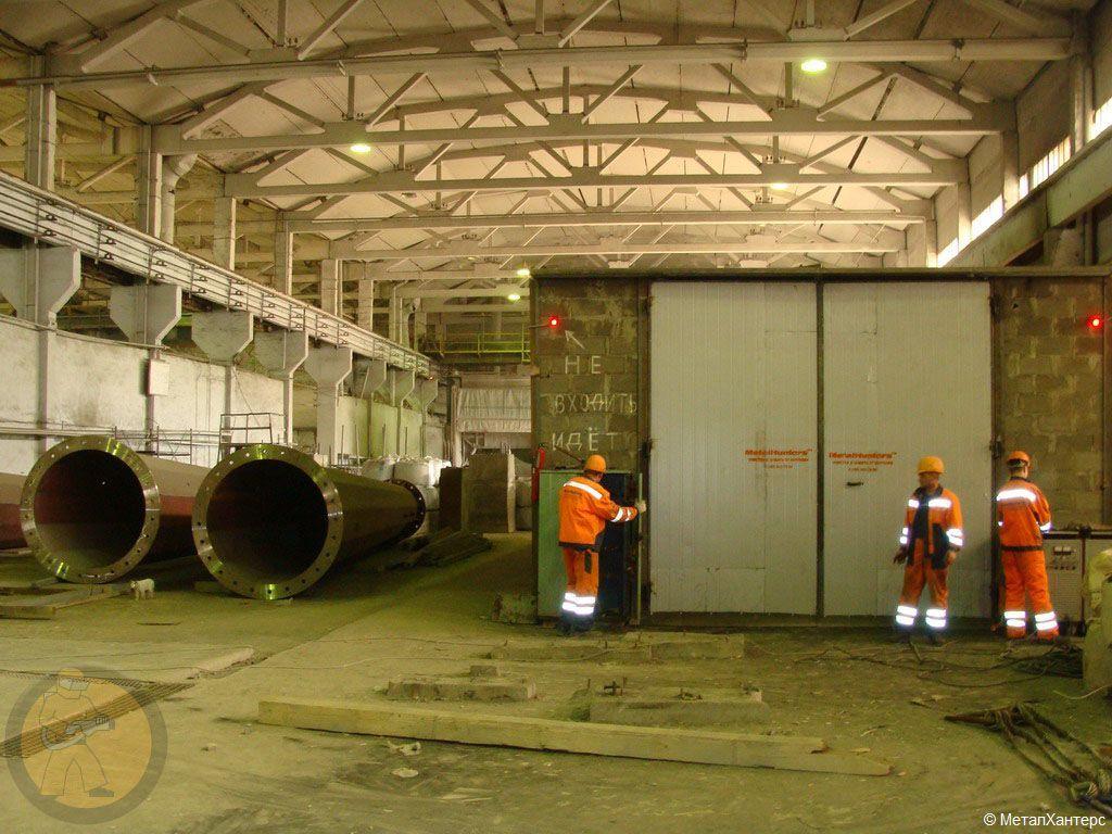 Пескоструйная камера общей площадью 120 м² для обработки крупногабаритных металлоконструкций