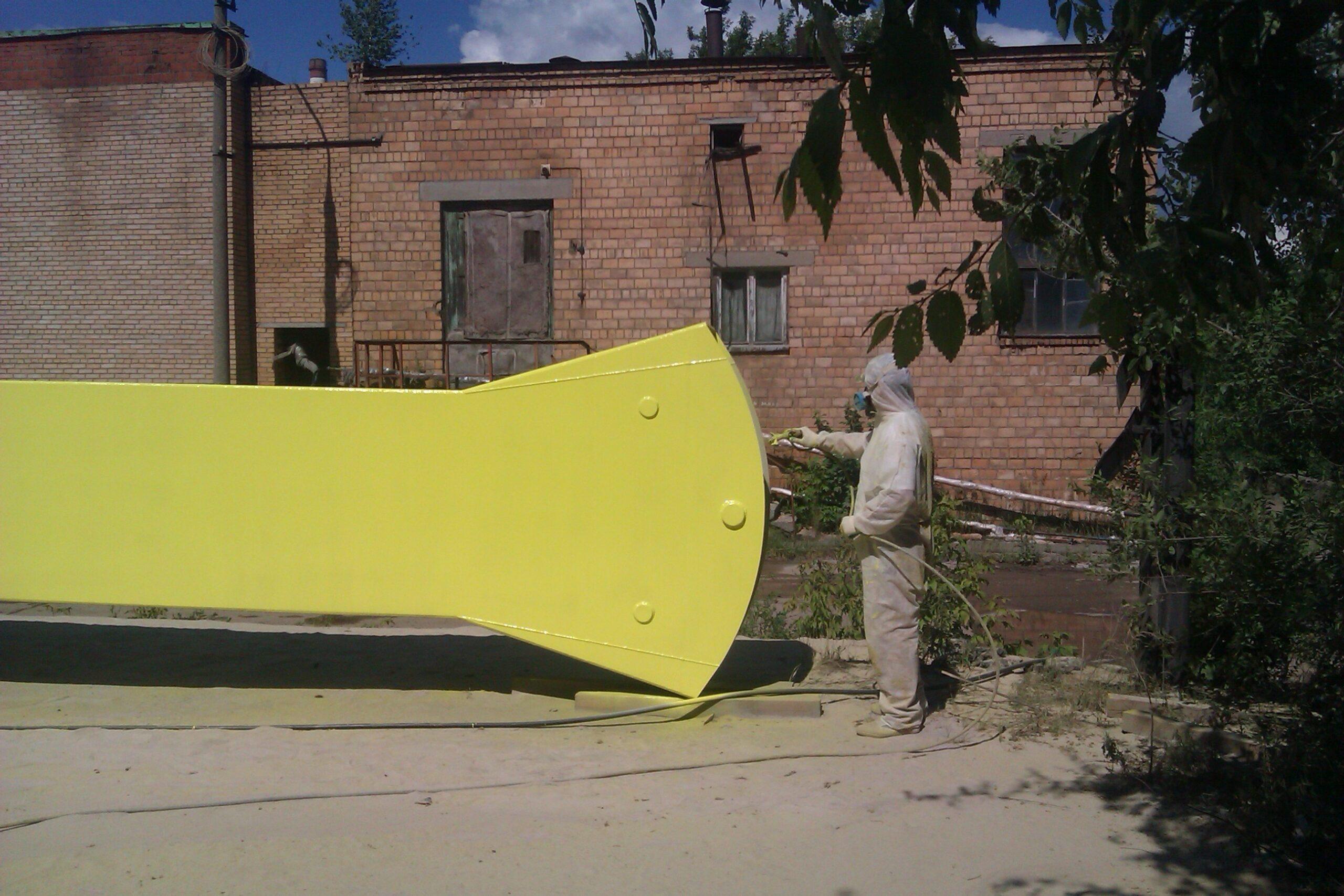 Пескоструйная очистка, цинкование составом Циноферр, окраска аттракциона для парка в г. Тольятти